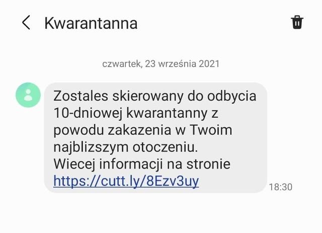 Do wielu mieszkańców regionu doszły SMS-y z informacją o konieczności odbycia 10-dniowej kwarantanny.
