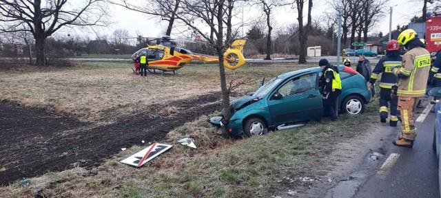 Wypadek w Okrzeszycach 22.03.2021