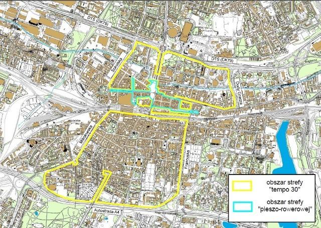 Mapa Strefy Tempo 30 w Katowicach