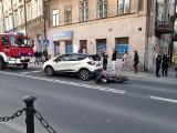 Zderzenie jednośladu z samochodem w centrum Lublina. Motocyklista został ranny