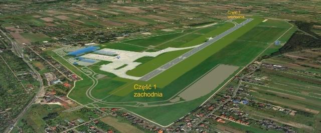 Obiekty kubaturowe towarzyszące powstaną po zachodniej stronie lotniska, najbliżej Alei Wojska Polskiego, w sąsiedztwie terminala. Na wizualizacji zaznaczono je jako trzy małe niebieskie plamy obok dużej niebieskiej plamy (terminala).