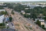Budowa trasy tramwajowej na Naramowice - tak wygląda plac budowy widziany z wieżowca na Serbskiej
