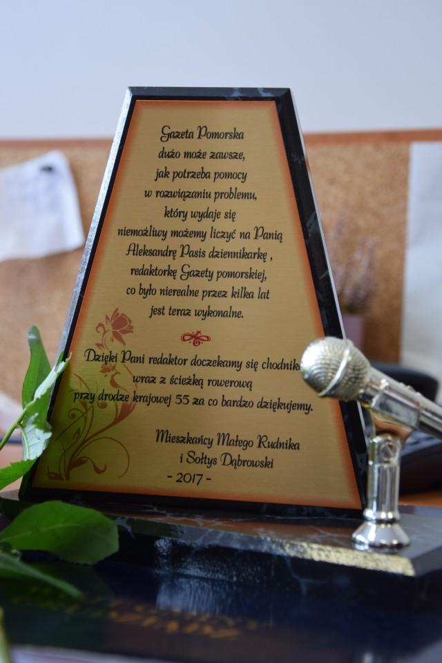 Taką statuetkę otrzymała nasza dziennikarka - Aleksandra Pasis. Gratulujemy!