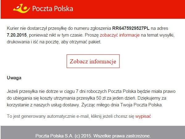 c8481cc52e04ff Jeśli w ostatnich dniach otrzymaliście podejrzanie wyglądającego maila,  którego nadawca podawał się za Pocztę Polską