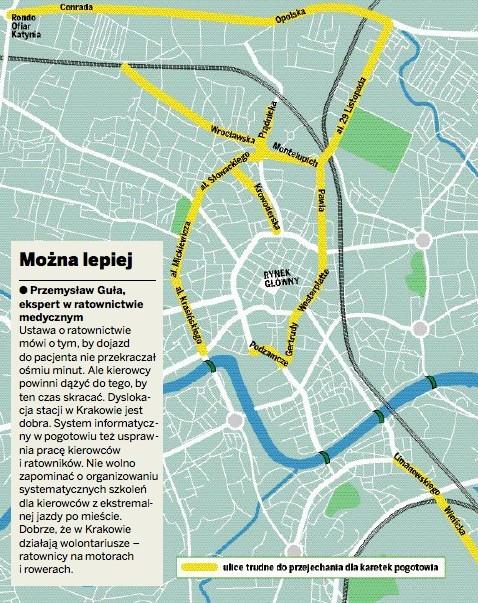 To właśnie na tych ulicach, zaznaczonych kolorem żółtym, karetki stoją w wielkich korkach