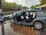 Groźny wypadek na al. Śmigłego-Rydza w Łodzi! Prawdopodobnie ścigali się! Jeden z kierowców był pijany. ZDJĘCIA, AKTUALIZACJA