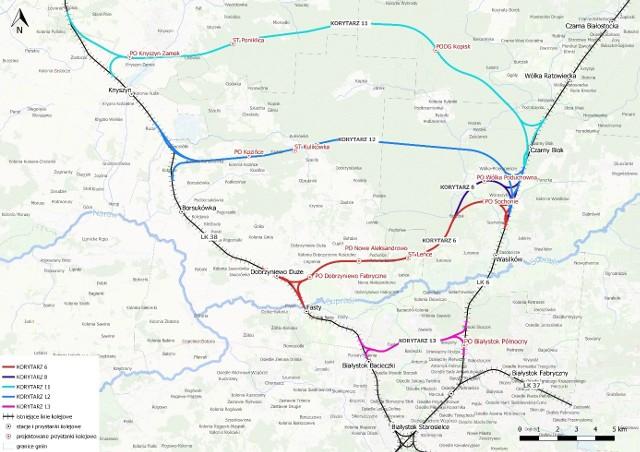 Na temat tych wariantów przebiegu północnej obwodnicy kolejowej Białegostoku będą mogli wypowiedzieć się w czwartek[19.08.2021] mieszkańcy. Różowym kolorem zaznaczono korytarz 13 w większości przebiegającym tunelem przez Białystok