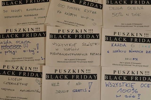 """Black Friday, czyli dzień wielkich wyprzedaży, promocji i okazji przypada w tym roku na 23 listopada. Do światowej, wyprzedażowej akcji postanowili dołączyć też nauczyciele I LO w Gorzowie (Puszkina).Oferują uczniom ogromne rabaty! Np. jedno nieprzygotowanie w cenie dwóch albo szóstka w sześciu nieoprocentowanych ratach. Na specjalnych, wyprzedażowych kartkach widnieje dopisek """"Oferta nieograniczona! Nie przegap okazji!"""".Nauczyciele zaznaczyli również, że uczniowie mogą z superrabatów korzystać jedynie w piątek 23 listopada do godz. 15.10, a o szczegóły promocji mogą pytać w klasach.Wszystkie oferty nauczycieli, którzy """"strollowali"""" black friday znajdziecie w naszej galerii zdjęć!oprac. (sndr)WIDEO: Black friday. Zniżki w Polsce w ogóle nie przypominają tych w USA"""