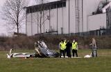 Wypadek na lotnisku w Gliwicach. Rozbił się prywatny samolot w czasie podchodzenia do lądowania