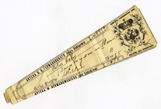 Recepta z apteki Pod Łabędziem W. Hermanowskiego z 1915 roku. Ze zbiorów Muzeum  Podlaskiego w Białymstoku