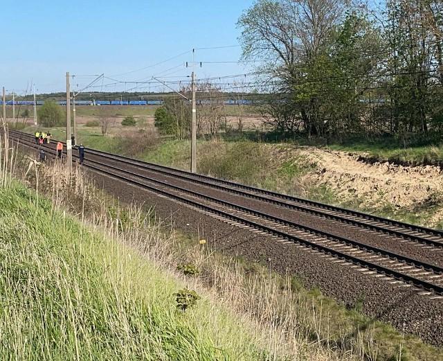 Strażacy pomagali w poszukiwaniach człowieka, który wyskoczył z jadącego pociągu.