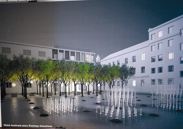 Po przebudowie plac Sebastiana ma się zamienić w oazę ciszy i spokoju. (fot. projekt pracownia Basis/fot. SM)