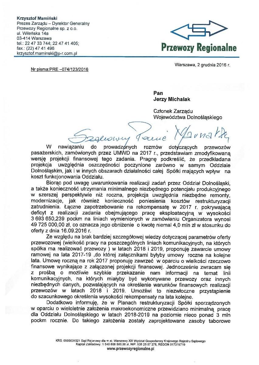 Z dokumentów opublikowanych przez urząd marszałkowski...