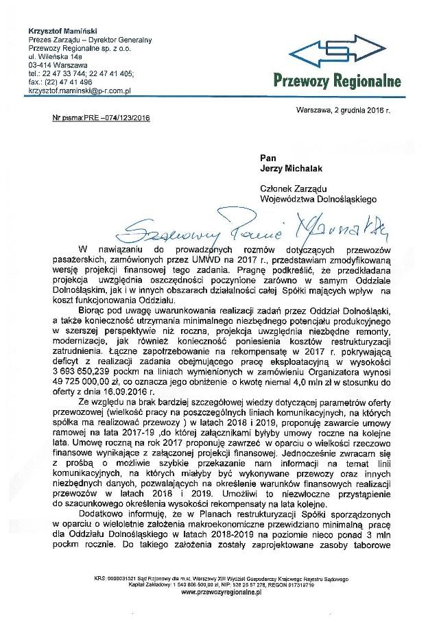 Z dokumentów opublikowanych przez urząd marszałkowski wynika, że to sam Krzysztof Mamiński, prezes spółki zaproponował samorządowi, że w tym roku będzie woził Dolnoślązaków za kwotę 49,7 mln zł