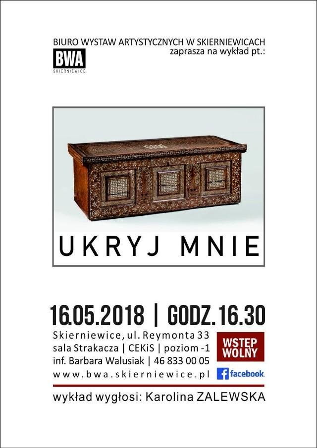 """W najbliższą środę, 16 maja, odbędzie się kolejny wykład o sztuce, zatytułowany """"Ukryj mnie"""". Wygłosi go Karolina Zalewska."""