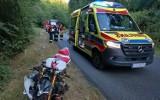 Wypadek motocyklisty na drodze Łupowo-Racław. Ranny mężczyzna trafił do szpitala