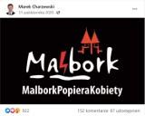 Burmistrz opublikował logo Malborka ze znakiem Strajku Kobiet. Radny pyta o granice ingerencji w grafikę
