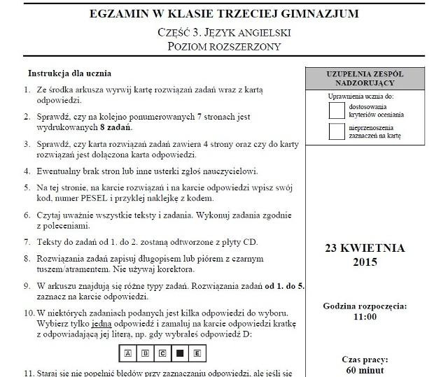 Egzamin gimnazjalny angielski rozszerzony - arkusz CKE - odpowiedzi - testy gimnazjalne 2015 - część językowa