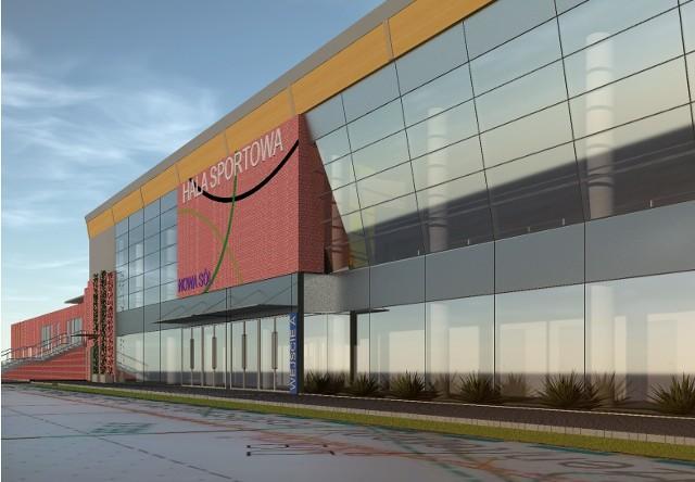 """Tak ma wyglądać nowa inwestycja w Nowej Soli. Projekt i wizualizację hali wykonało Przedsiębiorstwo Projektowo - Budowlane """"EKOBUD"""" s.c. Ewa i Remigiusz Owczarek."""