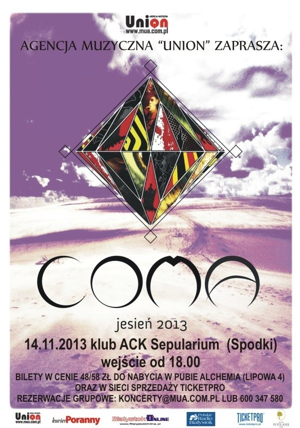 Coma gra w spodkach 14 listopada. Wejście od godz. 18.