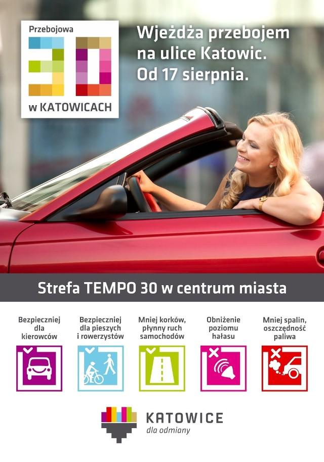 Plakat promujący Strefę TEMPO 30 w Katowicach