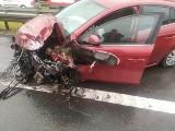 Wypadek na trasie S1 w Nowej Wsi. Zderzyły się dwa samochody. Są ranni. Kobieta wypadła z drogi na łuku