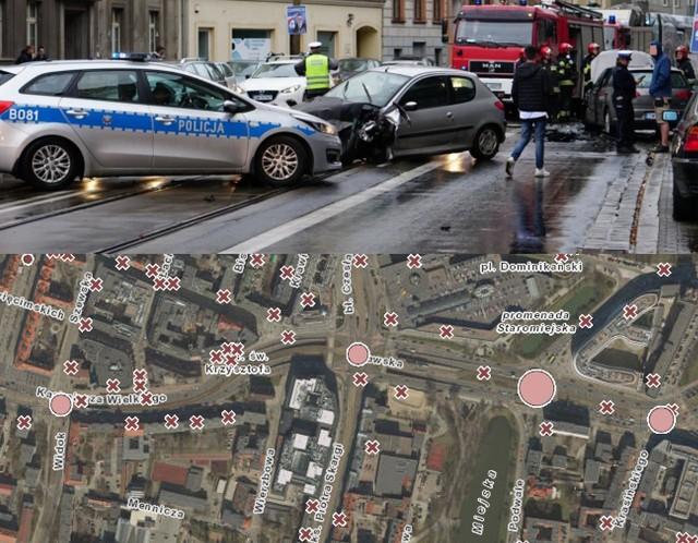 Niedziela to Światowy Dzień Pamięci Ofiar Wypadków Drogowych. Gdzie we Wrocławiu najczęściej dochodzi do wypadków? Od niedawna możemy dosyć precyzyjnie odpowiedzieć na to pytanie, a nawet nakreślić mapę tzw. czarnych punktów na wrocławskich ulicach. Wszystko dzięki współpracy policji i urzędu miejskiego, która doprowadziła do powstania mapy wypadków i kolizji na bazie mapy geoportalu. Duża ilość danych powoduje, że mapa nie zawsze jest czytelna. Prezentujemy najniebezpieczniejsze miejsca we Wrocławiu według danych za I i II kwartał 2019 roku. Tutaj dochodzi do największej liczby kolizji i wypadków - tym razem stosujemy terminologię policyjną, która przewiduje, że wypadek odnotowywany jest wówczas, gdy ranny trafił do szpitala na leczenie. W języku polskim definicja wypadku jest znacznie szersza i w wielu zdarzeniach odnotowanych tutaj jako kolizje byli ranni, którym udzielano pomocy na miejscu zdarzenia.ZOBACZCIE NA KOLEJNYCH SLAJDACH, KTÓRE MIEJSCA WE WROCŁAWIU LEPIEJ OMIJAĆ LUB ZACHOWAĆ TAM WYJĄTKOWĄ OSTROŻNOŚĆ