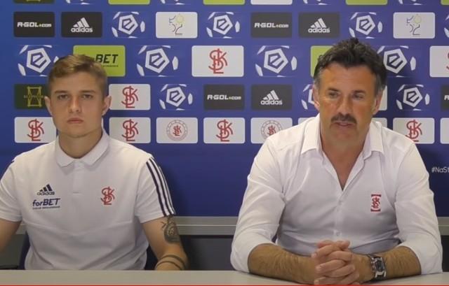 Michał Trąbka i trener Wojciech Stawowy