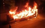 Nocny pożar autobusu w Bytomiu. Kierowca wracał do zajezdni, gdy nagle autobus stanął w płomieniach