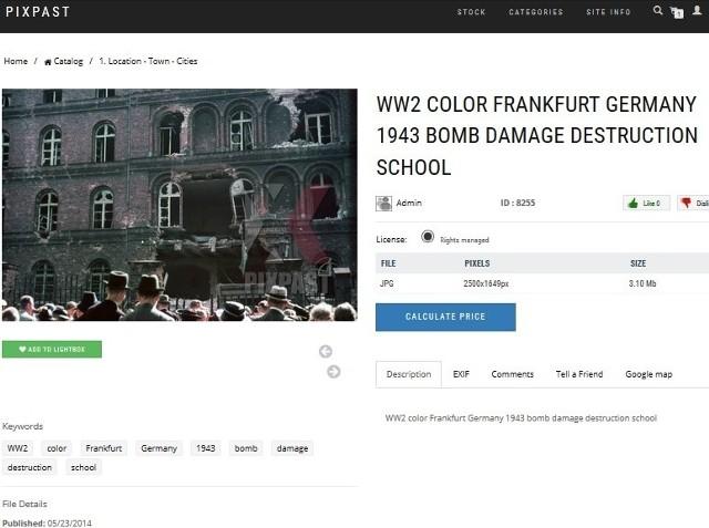 Na zdjęciu jest zniszczony budynek Polskiego Urzędu Pocztowo-Telegraficznego w Gdańsku, a nie - jak sugeruje opis - zniszczona szkoła we Frankfurcie