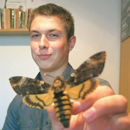 - Zmierzchnica trupia główka (łac. nazwa Acherontia atropos) jest w Polsce rzadko spotykana, dociera do nas z południa Europy. Ten okaz kupiłem na giełdzie owadów w Pradze - mówi Damian Bruder