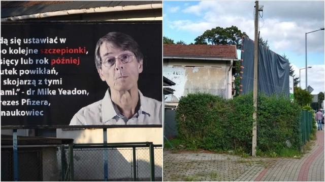 Wielki plakat w Tarnowie straszył, że zaszczepieni przeciw COID-19 będą umierać. Po interwencji miasta został zasłonięty