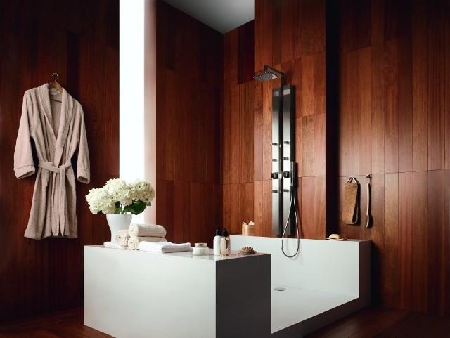 Wnętrze łazienkiŁazienka wyposażona w panel Jaguar Square