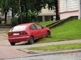Liniarskiego: Renault na trawniku