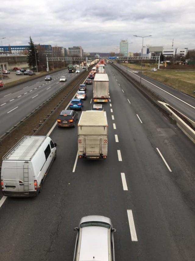Olbrzymi korek po stłuczce na A4 w Katowicach
