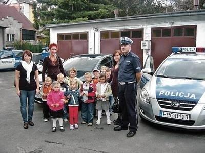 Mali goście odwiedzili myślenicką komendę policji FOT. archiwum policyjne