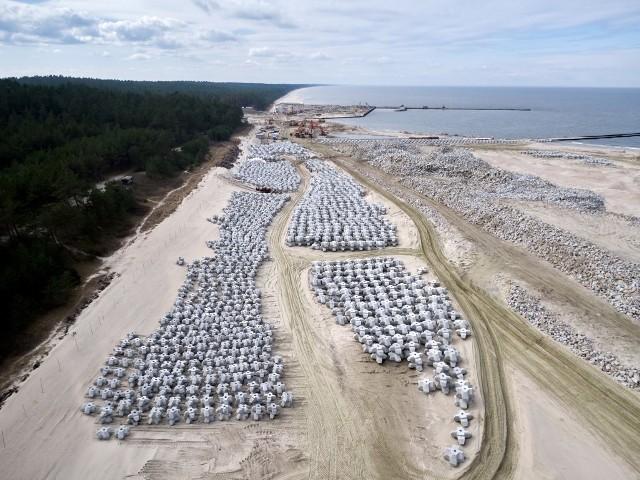 Budowa przekopu Mierzei Wiślanej - stan robót na początku kwietnia 2021.