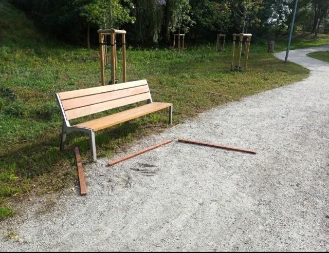 Zniszczenia w Dolinie Gęśnika. Ktoś zdewastował ławki i pergolę. Wszystko nagrał miejski monitoring.