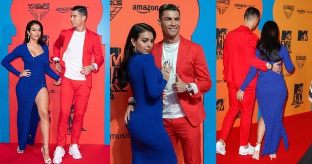 W niedzielny wieczór Cristiano Ronaldo uświetnił galę MTV Europe Music Awards. Na muzyczną imprezę przybył ze swoją partnerką Georginą Rodriguez. Para była łakomym kąskiem na fotoreporterów na ściance, czyli miejscu, w którym goście pozują do zdjęć. Szczególnie, że para nie szczędziła sobie czułości, a piłkarz Juventusu złapał partnerką za pośladek. Zobacz zdjęcia z tego wydarzenia!