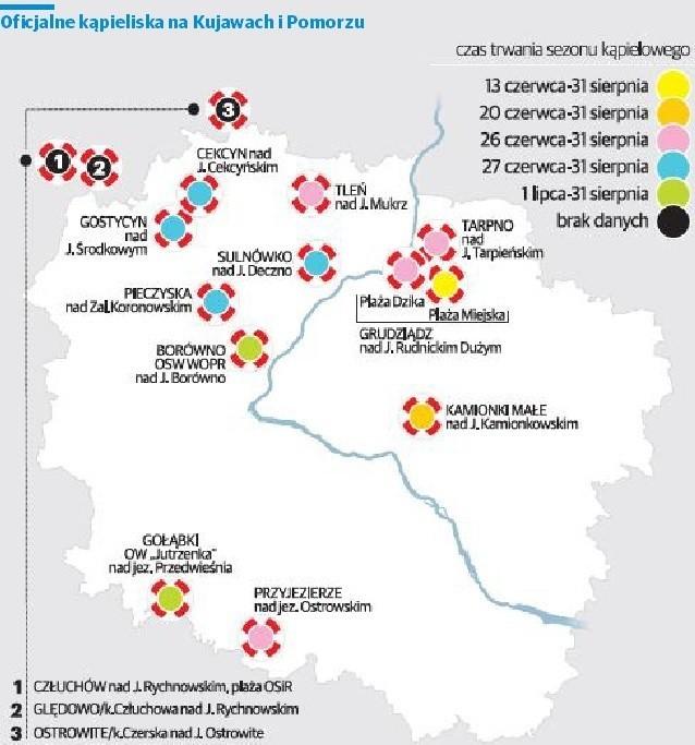 Dokładne położenie kąpielisk oraz podstawowe aktualizowane informacje o nich można znaleźć w serwisie kąpieliskowym Głównego Inspektoratu Sanitarno-Epidemiologicznego http://sk.gis.gov.pl.