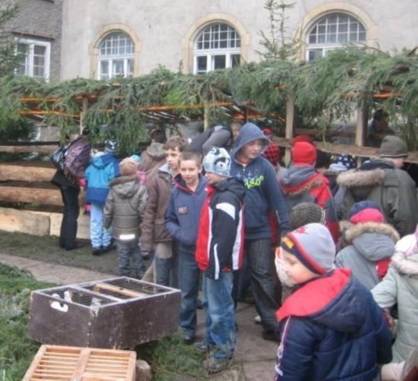 Szopkę zbudowali uczniowie technikum rolniczego i słuchacze szkoły policealnej oraz Edward Przysiężniuk, pracownik szkoły.