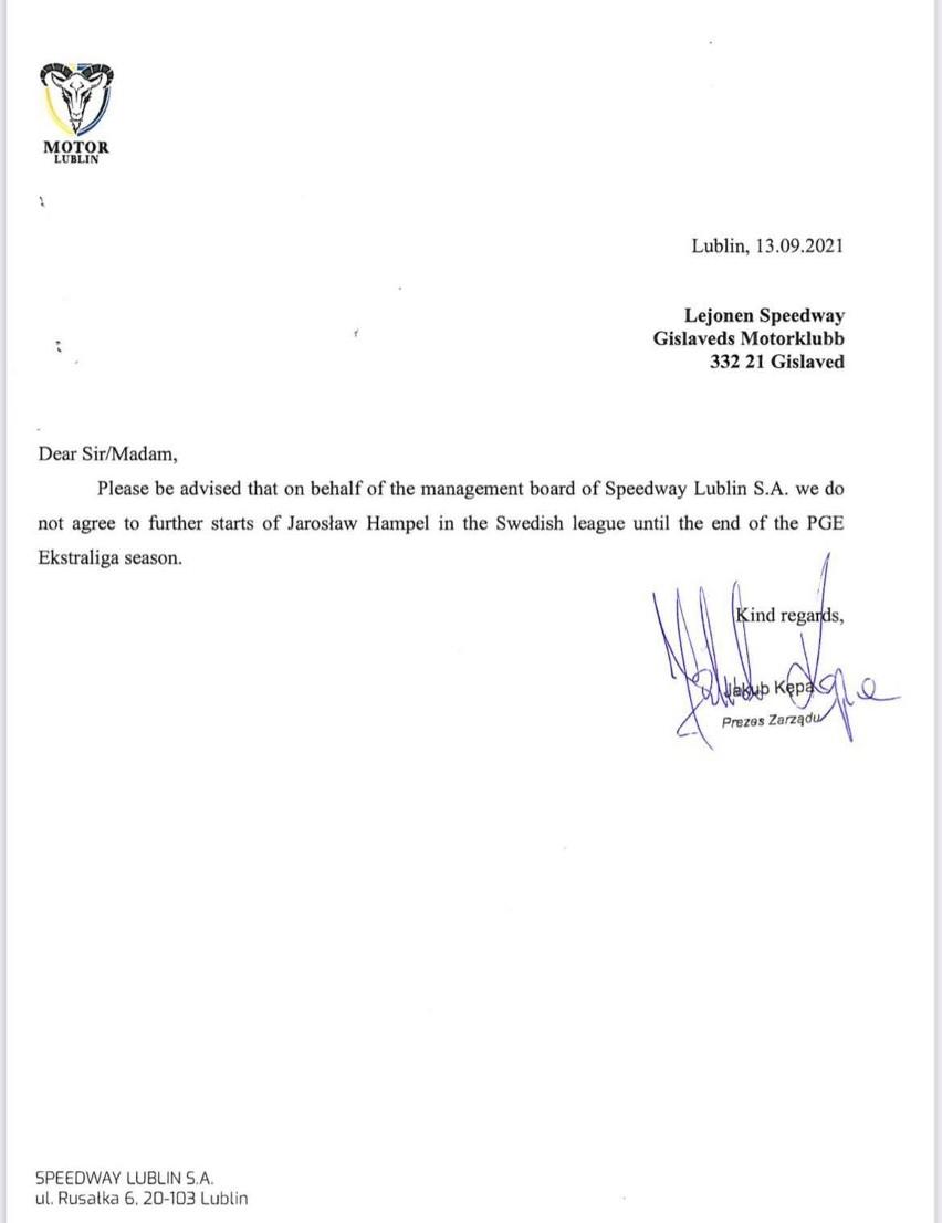 Motor Lublin zakazał Jarosławowi Hampelowi startów w lidze szwedzkiej