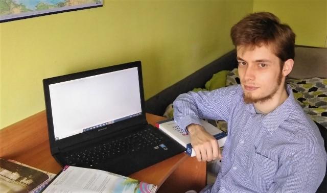 Piotr Łażeński, student pierwszego roku dziennikarstwa na Uniwersytecie Marii Curie-Skłodowskiej w Lublinie