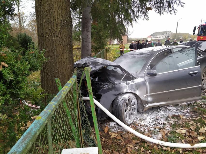 Winna Chroły. Wypadek w sobotni poranek. Audi uderzyło w drzewo i ogrodzenie (zdjęcia)