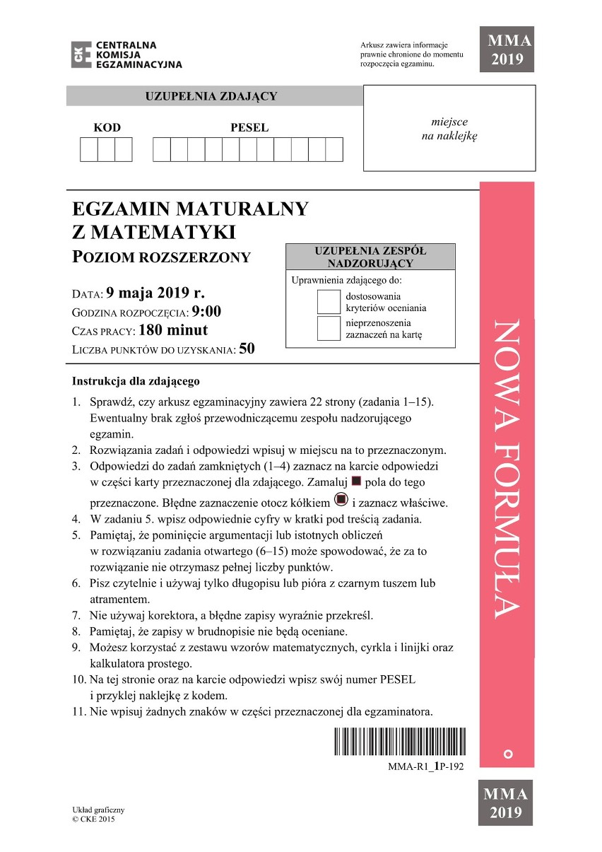 Pierwsza strona arkusza z matematyki - rozszerzenia 2019....
