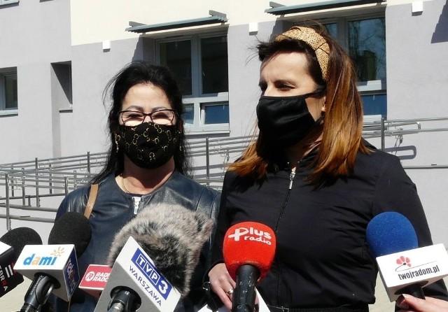 O łóżkach respiratorowych w szpitalu tymczasowym mówiły radne Platformy Obywatelskiej – Magdalena Lasota (z lewej) i Marta Michalska – Wilk.