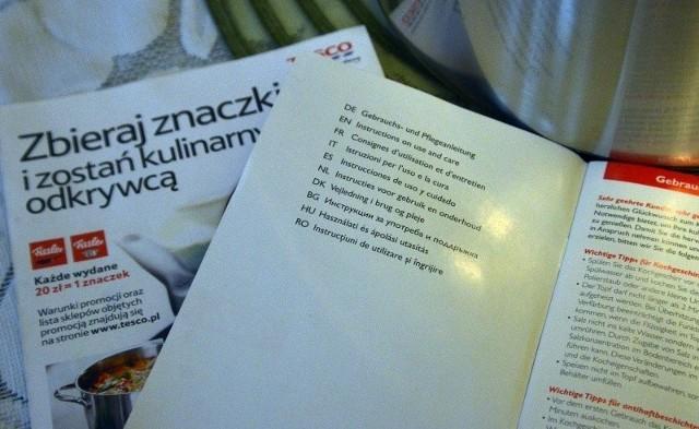 Instrukcja, którą znalazł pudełku z garnkiem pan Stefan, jest w dziesięciu językach, ale nie po polsku.