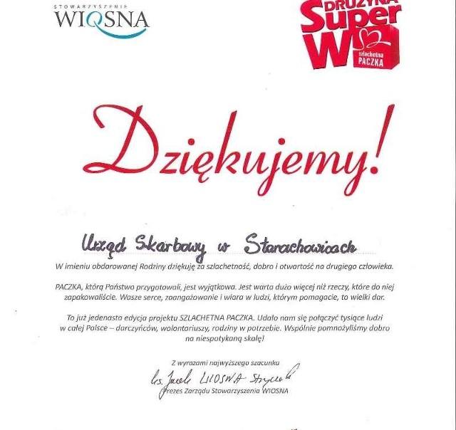 Urząd Skarbowy w Starachowicach dostał podziękowania za dar serca.