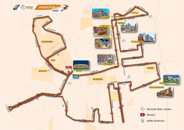 Tak wygląda szczegółowa mapka trasy tegorocznego DOZ Maratonu Łódź. Tradycyjnie start i meta zlokalizowane zostały w Atlas Arenie. Organizatorzy przepraszają za utrudnienia ruchu