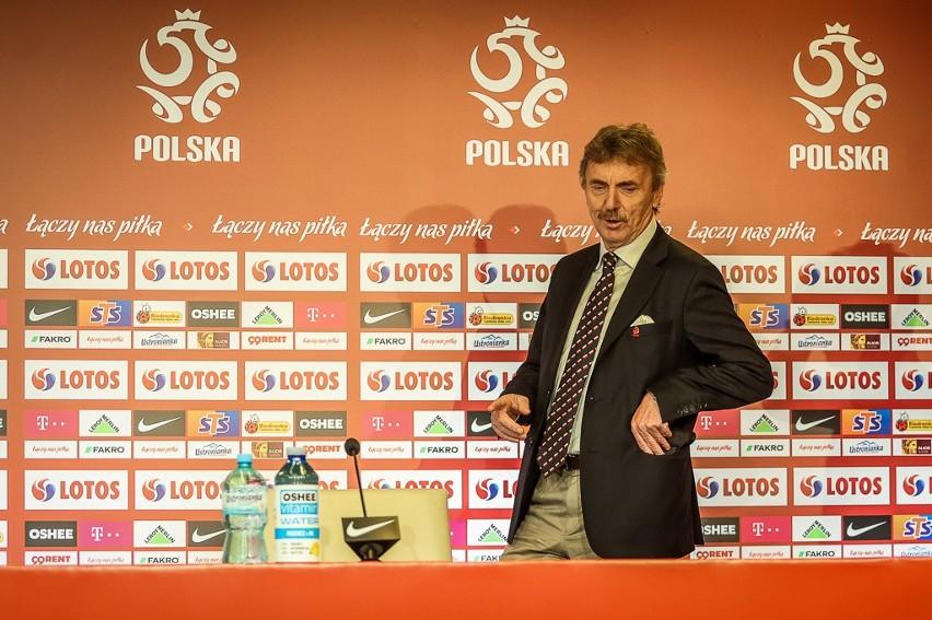 Zbigniew Boniek w centrum prasowym na stadionie w Gdańsku...